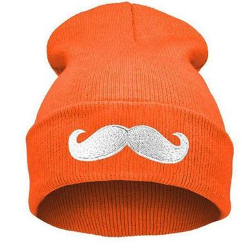 onetow One-nice? Perfect Big Beard Embroidery Women Men Hiphop Beanies Winter Knit Hat Cap