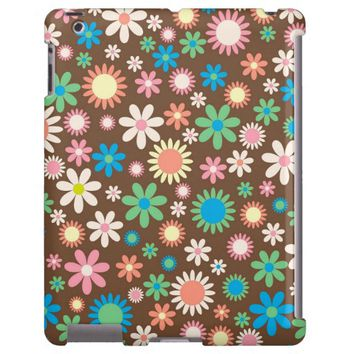 Pretty Retro Flowers Pattern iPad Case