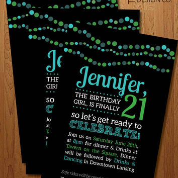 "Printable Invitation - Girl Birthday - 21st Birthday  / Sweet 16 -  ""The Jennifer"""