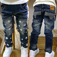 Cool Baby Boys Kids Children Star Fleece Lined Denim Jeans Trousers Pants Pocket = 1930016196