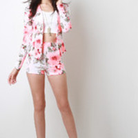 Women's Floral High Waisted Shorts