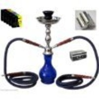 "17"" 2-hose Blue Hookah Set Nargila Pipe + 1 Hard Hookah Case + 1 Box of Hydro Shisha Flavor  + 10 Instant Charcoals + Hose + Tongs + All Rubber Garments."