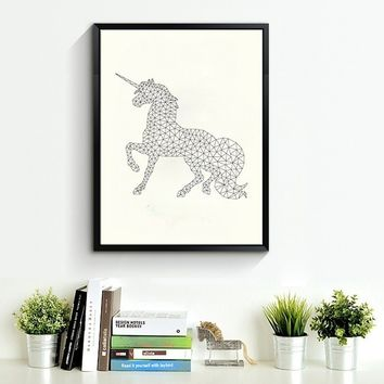 Geometric Unicorn Canvas Art Print Poster, Hot Sell Wall Pictures for Home Decoration