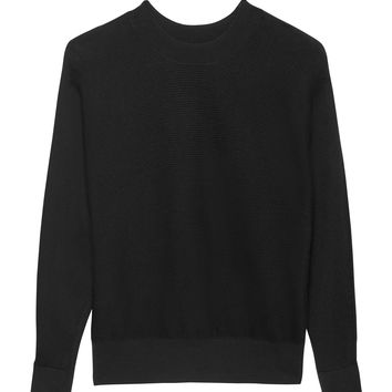 Stretch-Cotton Ribbed Dolman-Sleeve Sweater | Banana Republic