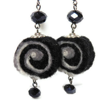 Black white felted earrings/helix, spiral/ Felted jewelry/ Ready to ship