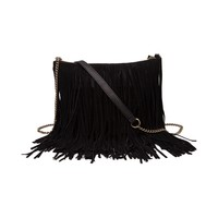 Womens Suede Fringe Crossbody Handbag