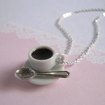 Coffee Necklace, Miniature Tea Cup Set With Miniature Spoon On Silver Chain