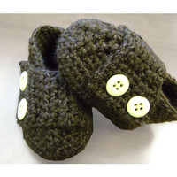 Handmade Brown baby boy Crochet booties, any color, infant shoes newborn-12 months