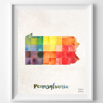 Pennsylvania, Map, Print, PA, Philadelphia, Harrisburg, USA, Poster, Watercolor, Painting, Decoration, Gift, Home Town, Art, States [NO 866]
