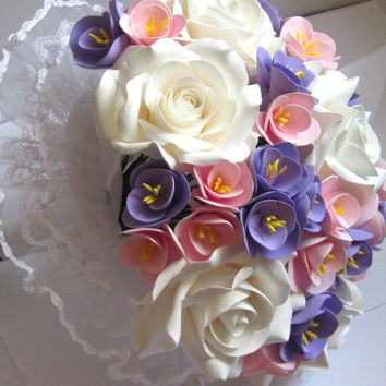 rose wedding bouquet - Bridal bouquet. lilac, lavender, pink, white  bouquet. bouquet of roses with freesias