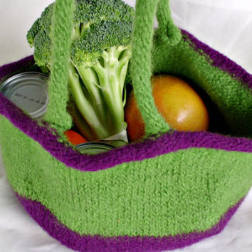 Farmers Market Bag / Reusable Shopping Bag / Bucket Tote / Felted Green and Purple Wool