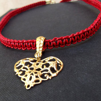 Red Leather Necklace:  Gold Filigree Heart Charm Macrame Braided Cord Romantic Modern Bohemian Jewelry