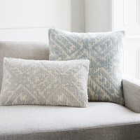 Diamond Medallion Cut Pile Pillow Cover - Platinum
