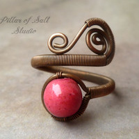 Pink Boho ring, Adjustable, Copper Wire Wrapped Ring, wire wrapped jewelry handmade, copper jewelry, howlite ring, earthy jewelry