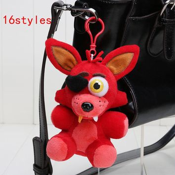 14cm  At  Sister Location  Freddy Bear Nightmare Springtrap Mangle Foxy Bonnie keychain pendant Plush Toy