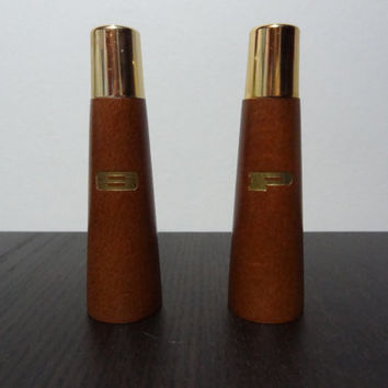 Vintage Wooden Danish Style Salt and Pepper Shaker Set - Mid Century Modern