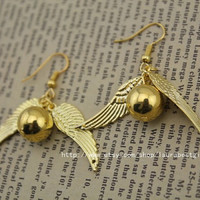 The Golden Snitch earrings the harry potter antique jewelry steampunk gift