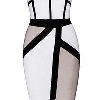'Quinn' Colorblock Bandage Dress - White