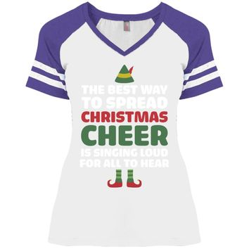 Black Cotton T-Shirt - Best Way to Spread Christmas Cheer Graphic Tee-01 DM476 Disctrict Ladies' Game V-Neck T-Shirt