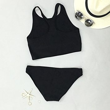 Cupshe Fashion Women's Black High Neck Tank Bikini Bathing Suit