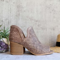 Ashlyn - perforated ankle bootie - taupe