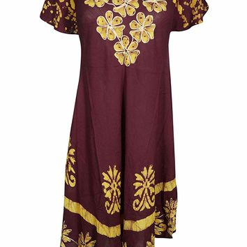 Womens A-Line Embroidered Batik Print Tank Dress L (Maroon,Yellow): Amazon.ca: Clothing & Accessories