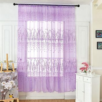 100*270cm line embroidered sheer tulle curtain for living room bedroom white voile curtains fabric drapes for window