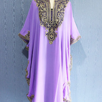 Purple Pastel Color Kaftan Maxi Dress Dubai Abaya Boho Sequin Caftan Dress Moroccan Evening Wear Maxi Gold Embroidery Dress
