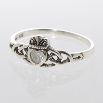 Sterling Silver Claddagh Ring Irish Celtic Cubic Zirconia