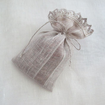 Favor bags 4x6'' - Striped grey linen sachets - fabric gift bags - Bridal Showers -  Favors - gardeners - seed storage bags, set of 10