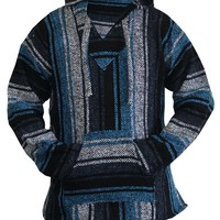 Mexican Baja Hoodie Sweater Jerga Pullover Blue Gray Unisex