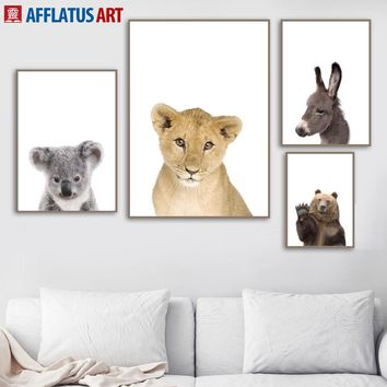 Lion Bear Donkey Koala Wall Art Canvas Painting Nordic Posters And Prints Animal Wall Pictures For Living Room Kids Room Decor