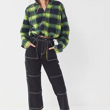 UO Plaid Fleece Half-Zip Pullover Sweatshirt | Urban Outfitters