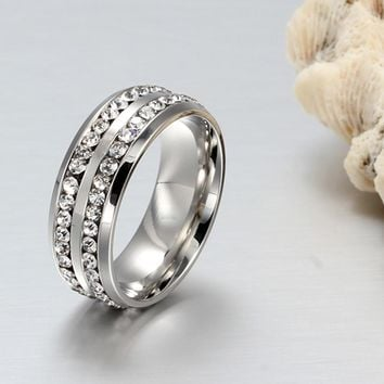 Unisex Titanium Steel Ring Men Women Wedding Band Silver Gold Size Silver 10