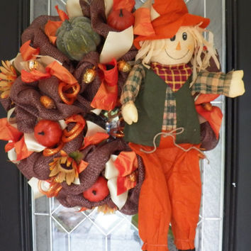 Burlap Fall Wreath, Fall Door Hanger, Fall decoration, Wreath for Door, Front Door Wreath, Ready to Ship