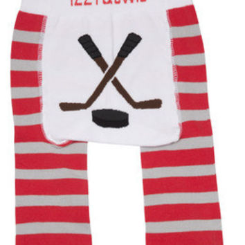 Red and Gray Hockey Baby Boys Legging, Izzy & Owie