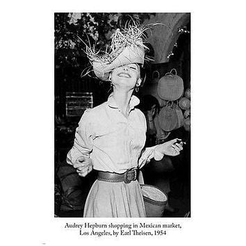 AUDREY HEPBURN SHOPPING IN L.A. MEXICAN MARKET by earl theisen POSTER 24X36