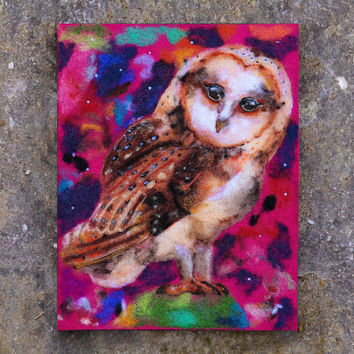 Needle Felted Art, Wool Felt Painting, Barn Owl Painting, Barn Owl Art, Whimsical Art, Fiber Art, Textile Art, Nursery Decor, Original Art