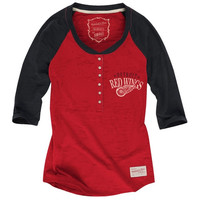 Mitchell & Ness Detroit Red Wings Ladies Three Quarter Sleeve Henley T-Shirt - Red/Black