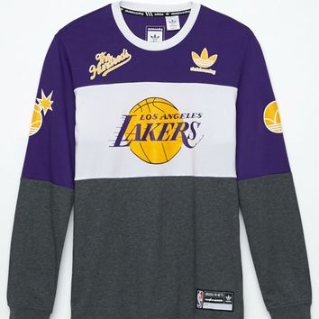 adidas - The Hundreds Los Angeles Lakers Long Sleeve T-Shirt - Mens Tee - Purple