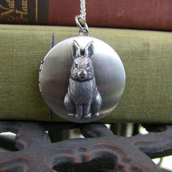 Silver Bunny Rabbit Locket Necklace Benjamin Bunny Velveteen Rabbit Gift For Any Age