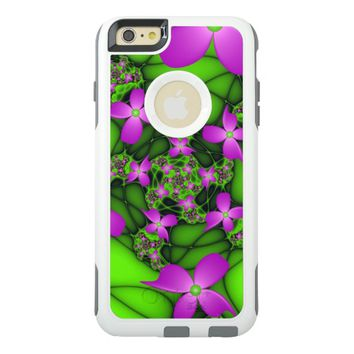 Modern Abstract Neon Pink Green Fractal Flowers OtterBox iPhone 6/6s Plus Case