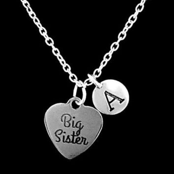 Choose Initial Big Sister Mother's Day Gift Sisters Charm Necklace