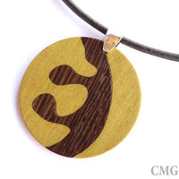 Wood Inlay Pendant - Marquetry - Jewelry Design - OOAK Handmade Woodwork