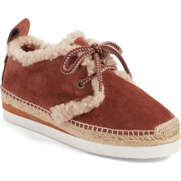 See by Chloé Glyn Genuine Shearling Lace-Up Espadrille (Women) | Nordstrom