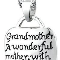 """Sterling Silver """"Grandmother A Wonderful Mother with Lots Of Practice"""" Square Pendant Necklace, 18"""""""