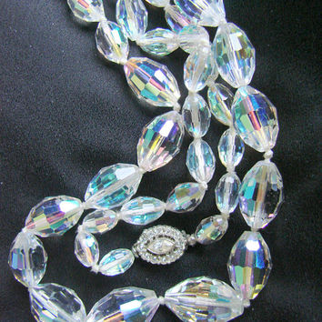 Mid Century Matinee Austrian Crystal Necklace / Ornate Rhinestone Clasp /  Vintage Crystal Glass Necklace / Jewelry / Jewellery