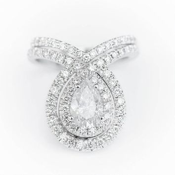 Double Bliss Pear Shaped Diamond Eagagement Rings set - with matching gold diamond wedding band, unique engagement rings