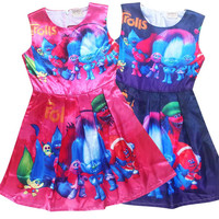 children trolls dress disfraz trolls party clothes troll clothing for girls 10 years poppy dress kids carnaval costumes teenage