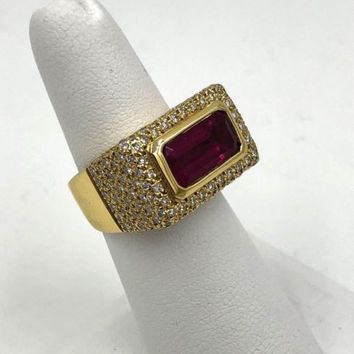 Vintage 18k Gold Pink Tourmaline & Pave Diamond Statement Ring 4.50 cts